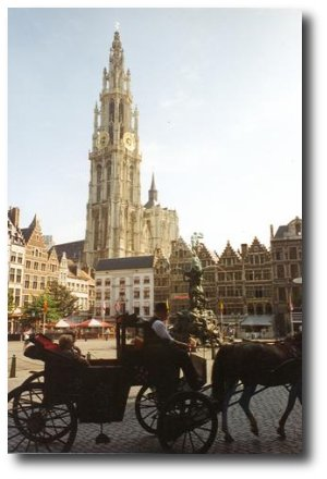 Antwerp city square & Cathedral of Our Lady