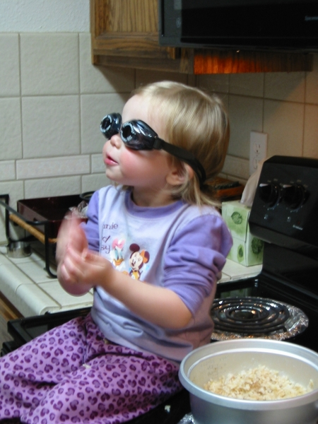 Audrey in goggles